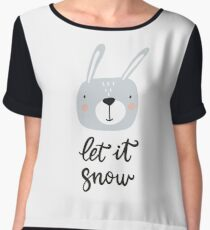 Christmas print, hand drawn style - lettering, animals and design elements. Let it snow Women's Chiffon Top