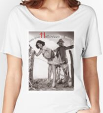 Halloween funny vintage postcard with pin up woman and bugaboo Women's Relaxed Fit T-Shirt