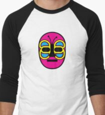 Lucha Libre // Mexican Wrestling Mask Pink with Butterfly Baseball ¾ Sleeve T-Shirt