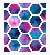 Watercolor honeycombs Photographic Print