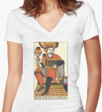 King Of Cups Tarot Card Women's Fitted V-Neck T-Shirt