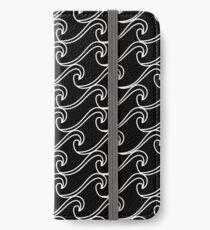 Rough Sea Pattern - white on black iPhone Wallet/Case/Skin