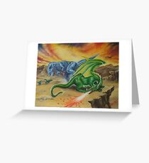 T-Rex & The Dragon Greeting Card
