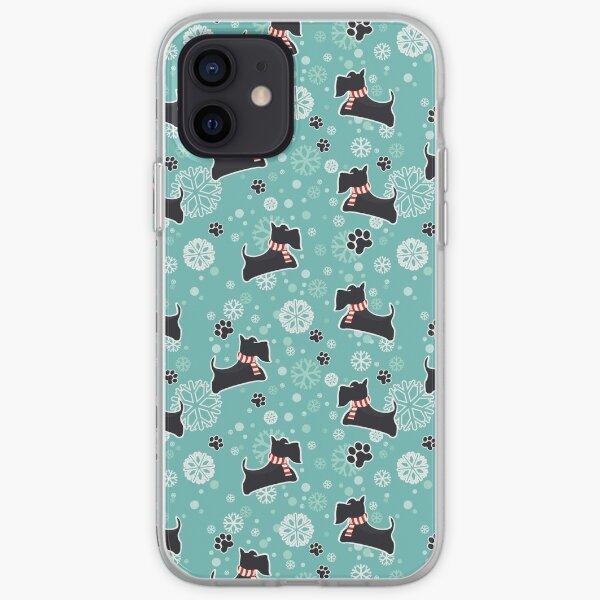 Snowy Scottie Dog Christmas Pattern iPhone Soft Case