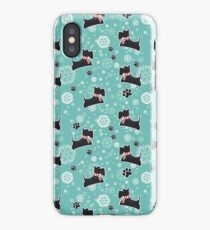 Snowy Scottie Dog Christmas Pattern iPhone Case