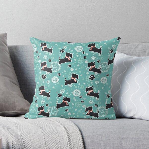 Snowy Scottie Dog Christmas Pattern Throw Pillow