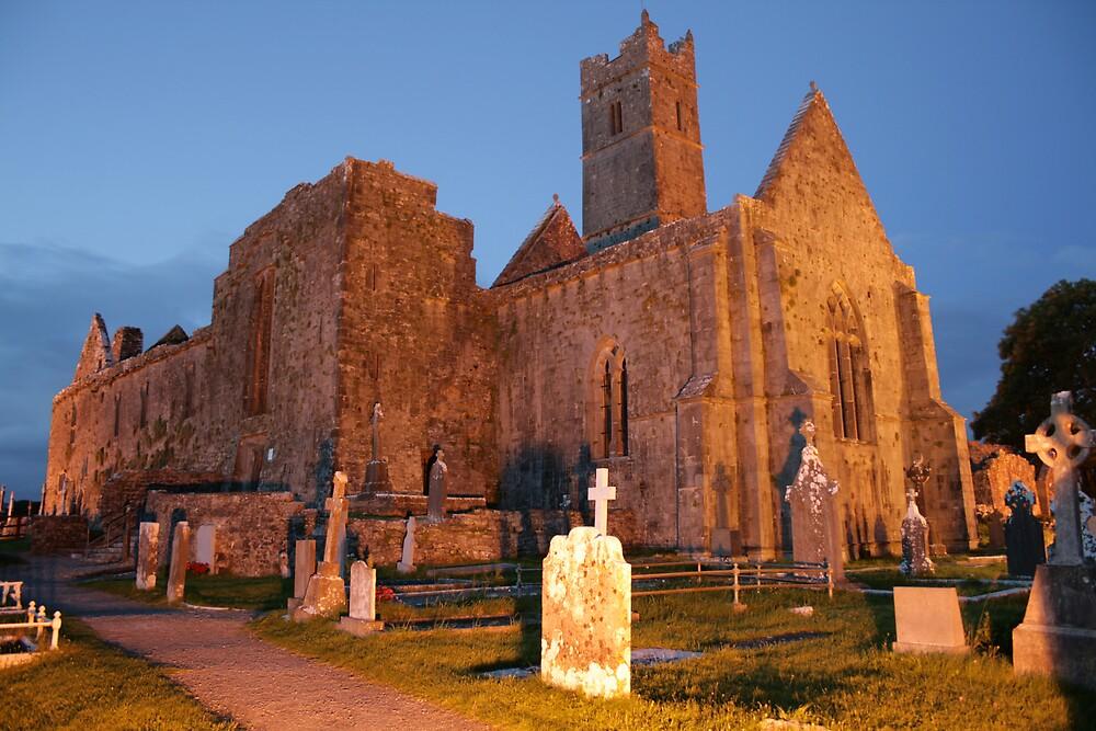 Quin Abbey evening view by John Quinn