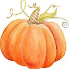 Watercolor orange pumpkin painting  by Sarah Trett