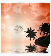 Silhouettes of palm trees on the artistic background Poster