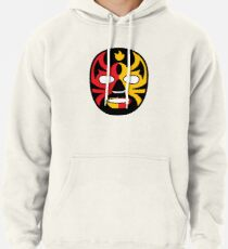 """""""Lucha Libre"""" (Free Fight) Mexican Wrestling Mask Red & Yellow Fire Pullover Hoodie"""