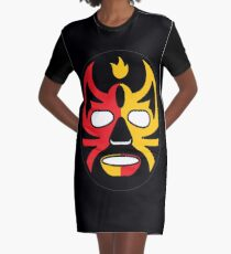 """Lucha Libre"" (Free Fight) Mexican Wrestling Mask Red & Yellow Fire Graphic T-Shirt Dress"