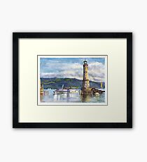 Lindau Lighthouse and Harbour, Germany Framed Print