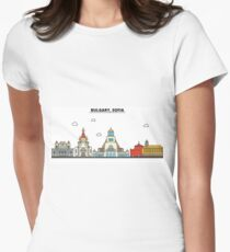 Bulgary, Sofia City Skyline Design Women's Fitted T-Shirt