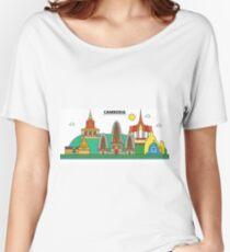 Cambodia, Phnom Penh City Skyline Design Women's Relaxed Fit T-Shirt