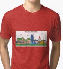 Canada, Edmonton City Skyline Design Tri-blend T-Shirt