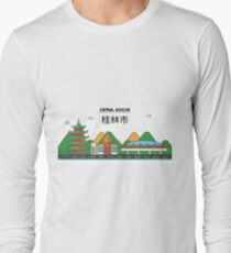 China, Guilin City Skyline Design Long Sleeve T-Shirt