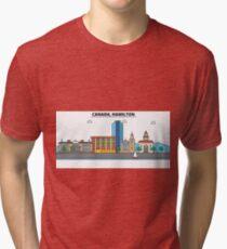 Canada, Hamilton City Skyline Design Tri-blend T-Shirt