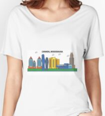 Canada, Mississauga City Skyline Design Women's Relaxed Fit T-Shirt