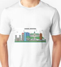 Canada, Montreal City Skyline Design T-Shirt