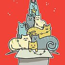 Cute Kawaii Cat Christmas Tree by Fiona Reeves