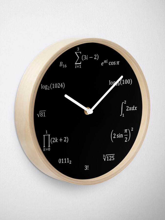 Alternate view of Math Equations and Notations Clock