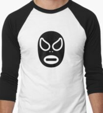 Lucha Libre // Mexican Wrestling Mask Black and White Baseball ¾ Sleeve T-Shirt
