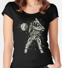 Space Baseball Astronaut Retro Vintage Women's Fitted Scoop T-Shirt