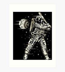 Space Baseball Astronaut Retro Vintage Art Print
