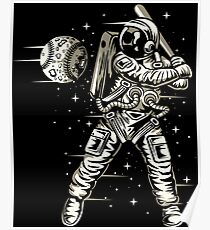 Space Baseball Astronaut Retro Vintage Poster