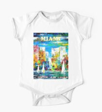 DELTA AIR LINES : Vintage Fly to Miami Advertising Print One Piece - Short Sleeve
