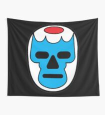 Lucha Libre // Mexican Wrestling Mask Blue with Red Forehead Wall Tapestry