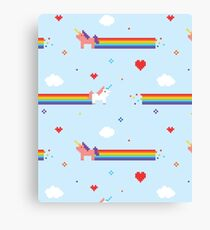 Unicorns and Rainbows Video Game Vintage Canvas Print