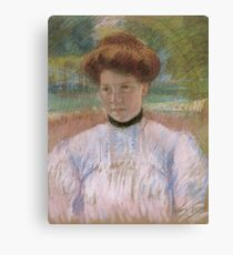 Young Woman with Auburn Hair in a Pink Blouse 1895 Mary Cassatt Canvas Print