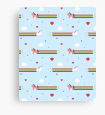 Unicorns and Rainbows Old Vintage Video Game Canvas Print