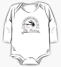 Prairie River Fly Fishing - Black Long Sleeve Baby One-Piece