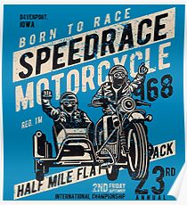 Motorcycle Speed Race Retro Vintage Poster