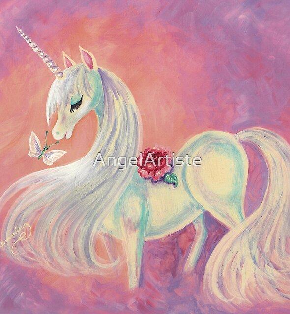 Unicorn In Blush Of Dawn by AngelArtiste