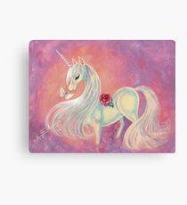 Unicorn In Blush Of Dawn Canvas Print