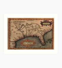 Map of Florida, likely based on the expeditions of Hernando de Soto (1539–1543) Art Print