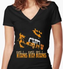 Witches-  Hitches Halloween costume Women's Fitted V-Neck T-Shirt