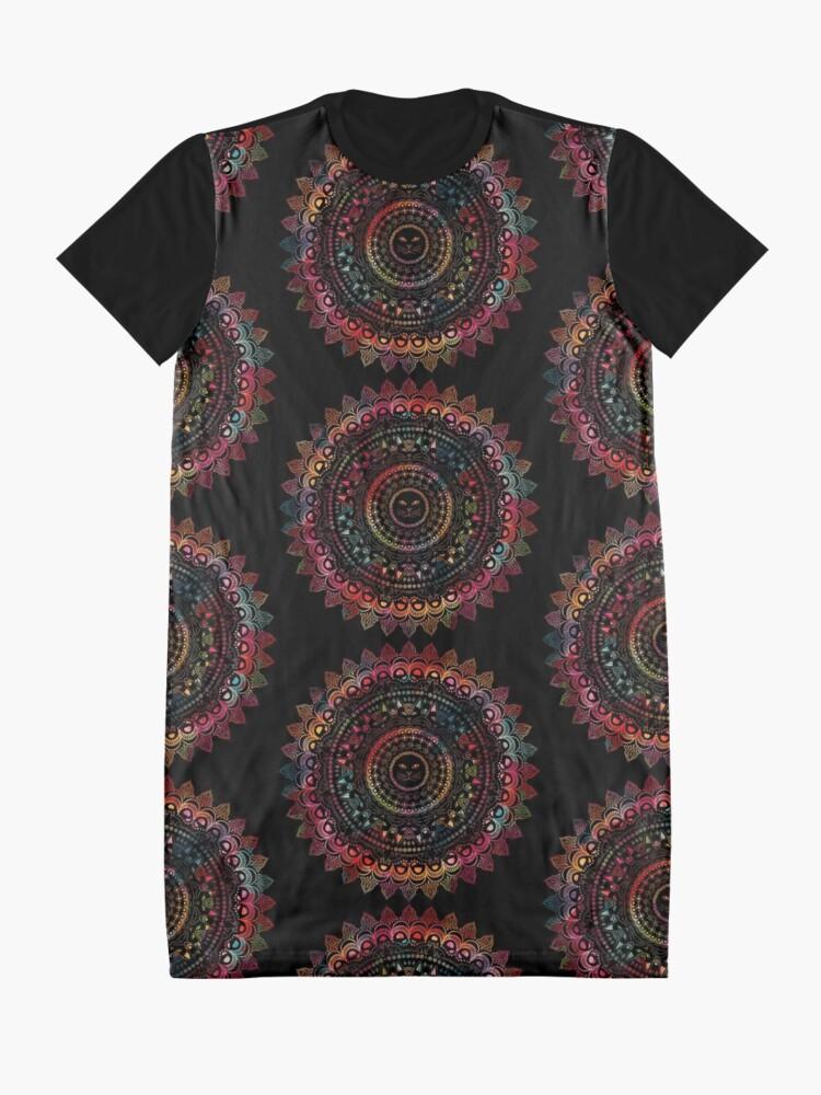 Alternate view of Rainbow Kitty Cat Mandala Graphic T-Shirt Dress