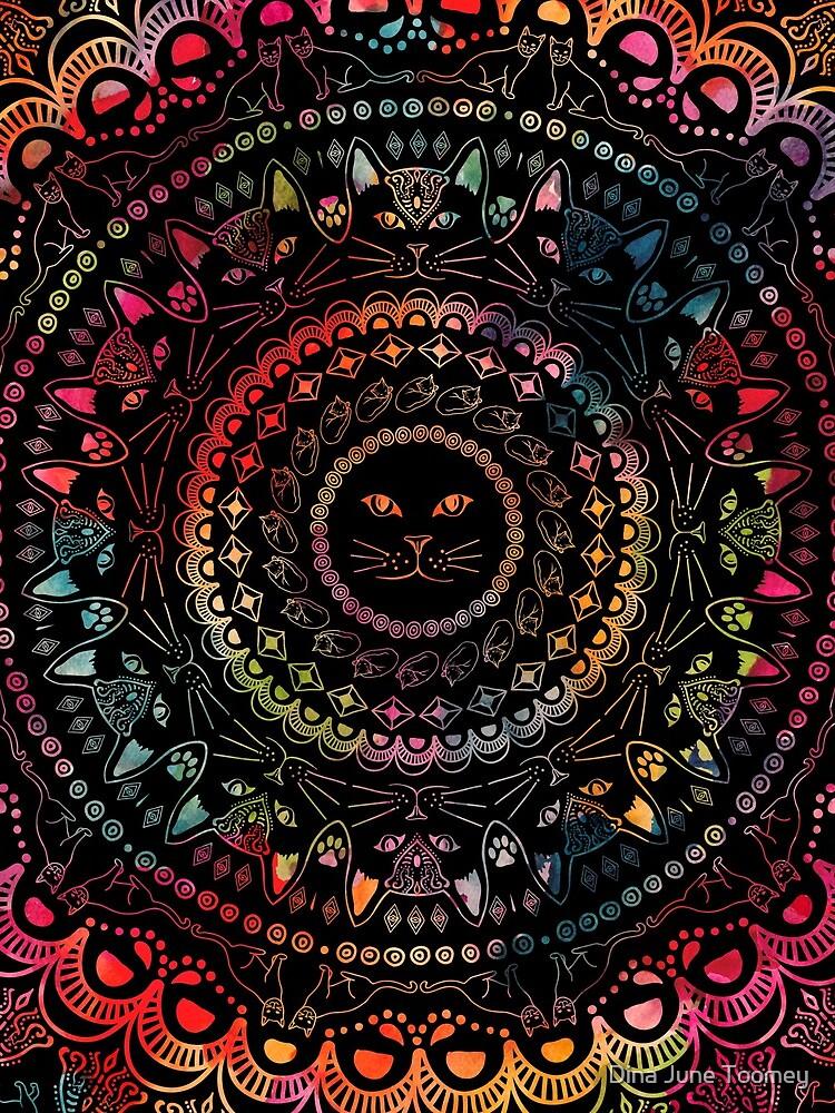 Rainbow Kitty Cat Mandala by dinafiala