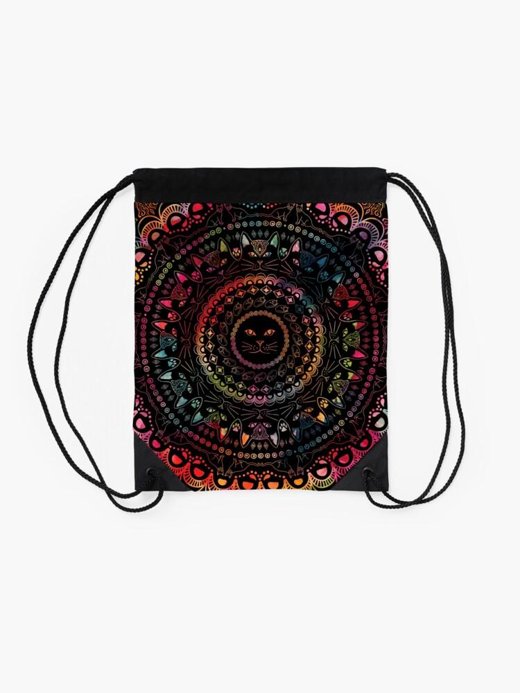 Alternate view of Rainbow Kitty Cat Mandala Drawstring Bag