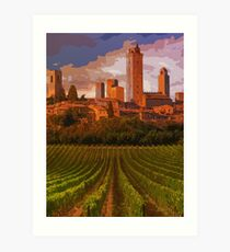 Italy, sunset on San Gimignano Art Print