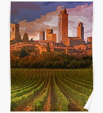 Italy, sunset on San Gimignano Poster