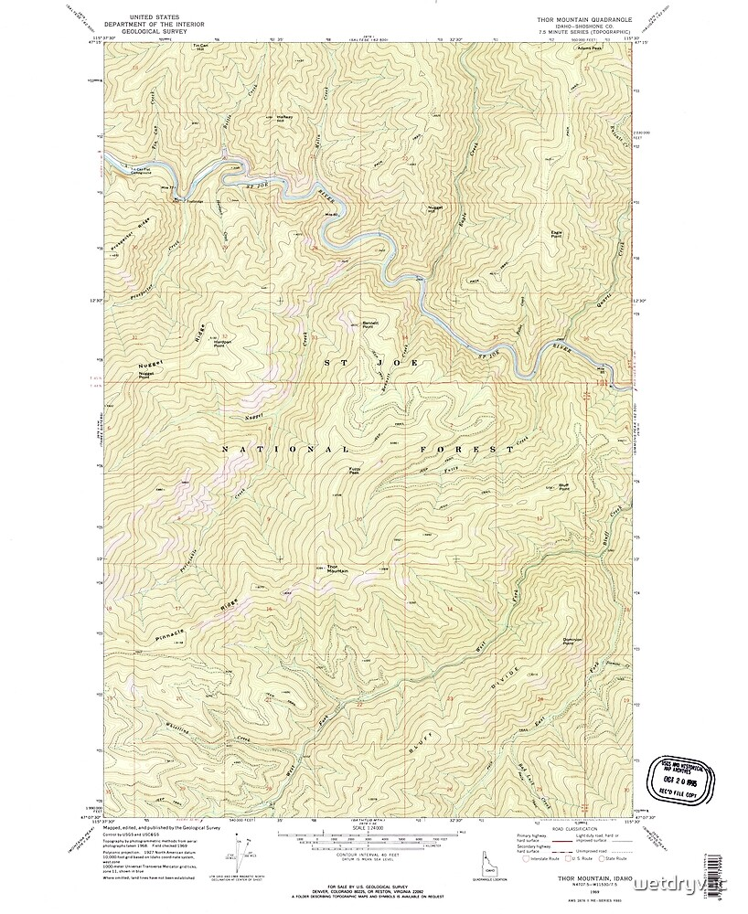 USGS TOPO Map Idaho ID Thor Mountain 238474 1969 24000 by wetdryvac