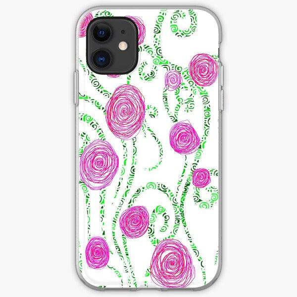 Green and Pink Doodle Flower Vines Illustration iPhone Soft Case