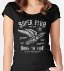 Motorcycle Plug Retro Vintage Women's Fitted Scoop T-Shirt