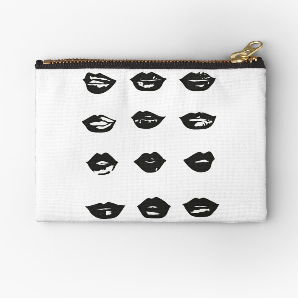 kiss kiss in black and white Zipper Pouch