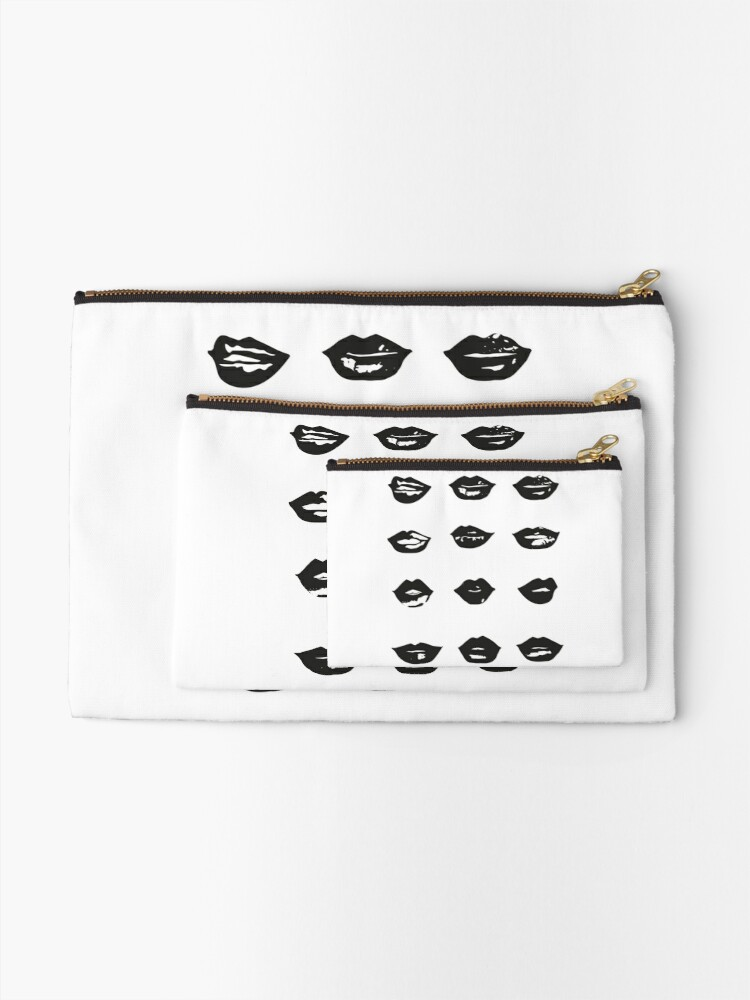 Alternate view of kiss kiss in black and white Zipper Pouch